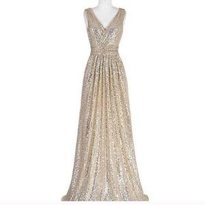 NWT! Stunning Rose Gold Sequined Gown